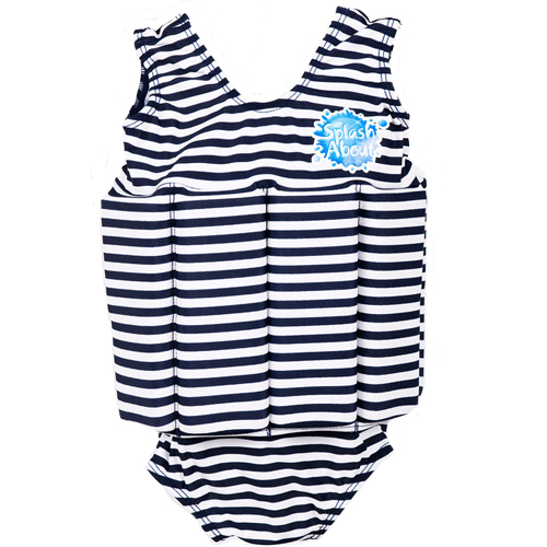 Splash About float suit navy white stripe met rits